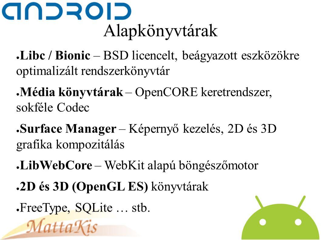 Alapkönyvtárak ● Libc / Bionic – BSD licencelt, beágyazott eszközökre optimalizált rendszerkönyvtár ● Média könyvtárak – OpenCORE keretrendszer, sokféle Codec ● Surface Manager – Képernyő kezelés, 2D és 3D grafika kompozitálás ● LibWebCore – WebKit alapú böngészőmotor ● 2D és 3D (OpenGL ES) könyvtárak ● FreeType, SQLite … stb.