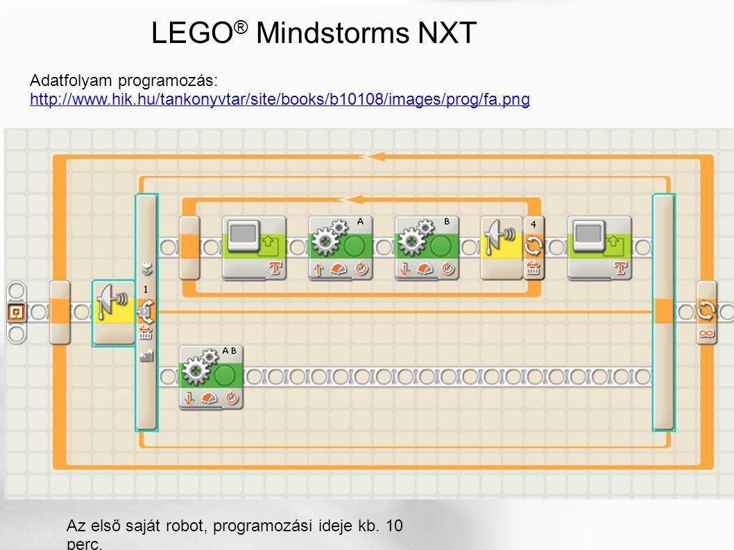 LEGO ® Mindstorms NXT Az első saját robot, programozási ideje kb. 10 perc. Adatfolyam programozás: http://www.hik.hu/tankonyvtar/site/books/b10108/ima