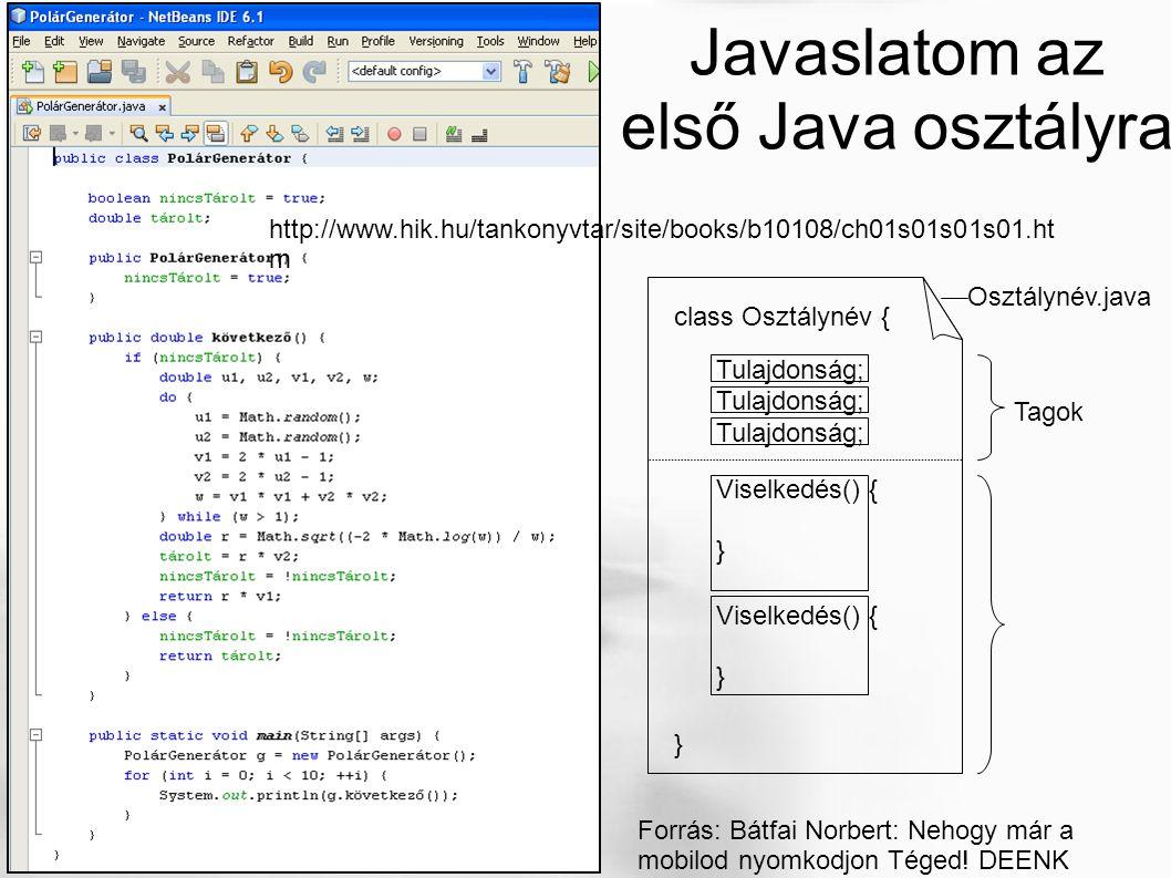 http://www.hik.hu/tankonyvtar/site/books/b10108/ch01s01s01s01.ht m Javaslatom az első Java osztályra Osztálynév.java class Osztálynév { } Tulajdonság;
