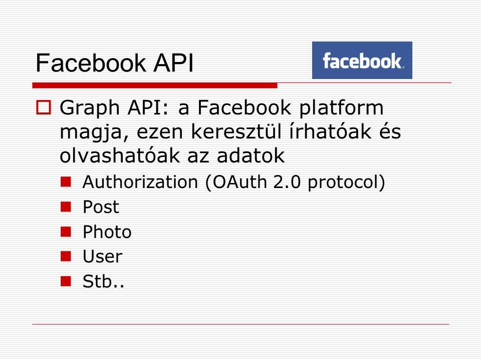 Facebook API  Graph API: a Facebook platform magja, ezen keresztül írhatóak és olvashatóak az adatok Authorization (OAuth 2.0 protocol) Post Photo User Stb..