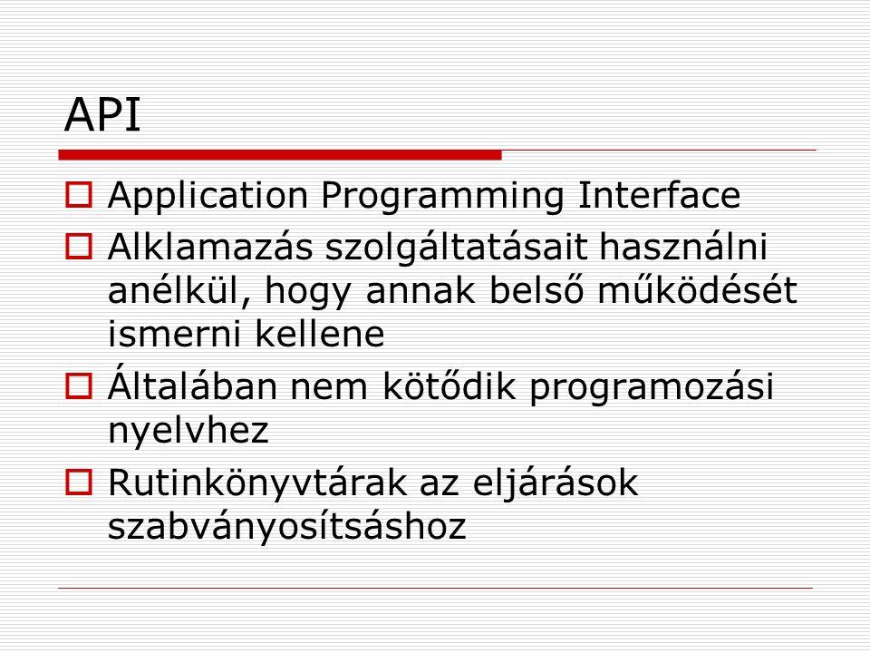 API  Application Programming Interface  Alklamazás szolgáltatásait használni anélkül, hogy annak belső működését ismerni kellene  Általában nem kötődik programozási nyelvhez  Rutinkönyvtárak az eljárások szabványosítsáshoz