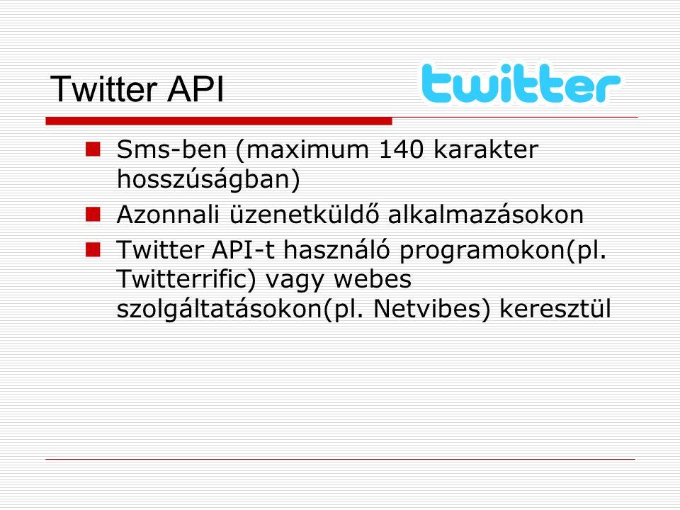 Twitter API Sms-ben (maximum 140 karakter hosszúságban) Azonnali üzenetküldő alkalmazásokon Twitter API-t használó programokon(pl. T w itterrific) vag