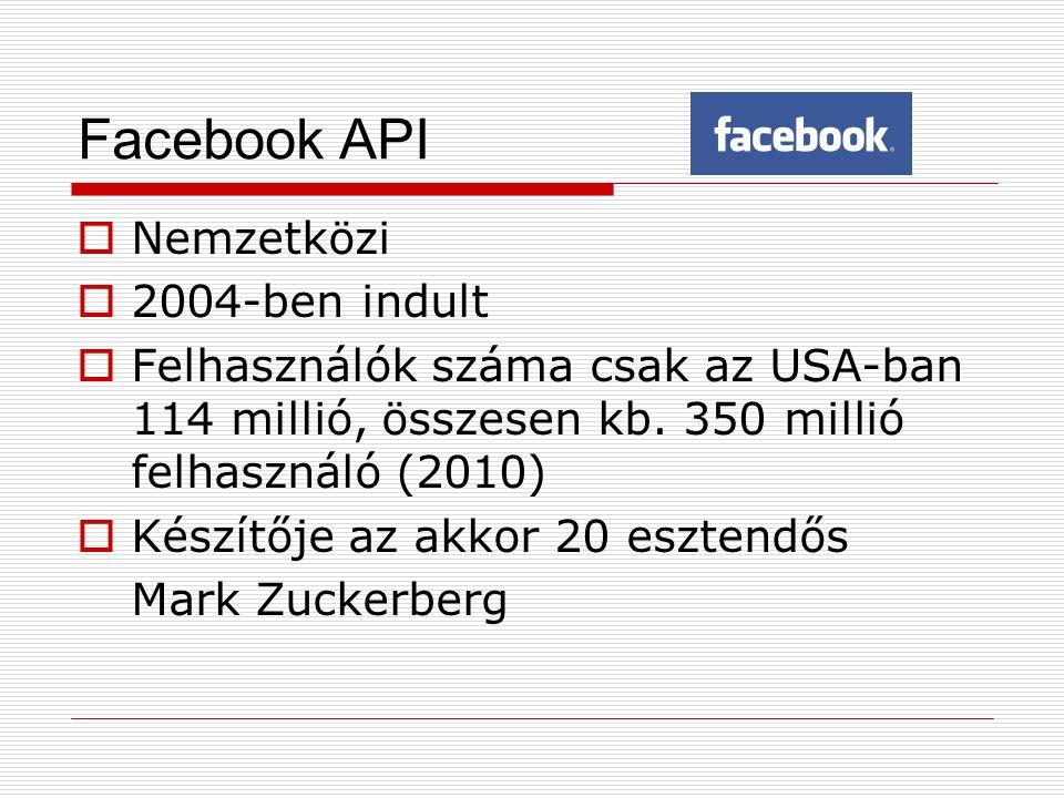 Facebook API  Nemzetközi  2004-ben indult  Felhasználók száma csak az USA-ban 114 millió, összesen kb. 350 millió felhasználó (2010)  Készítője az