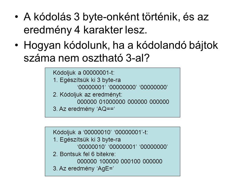 A kódolás 3 byte-onként történik, és az eredmény 4 karakter lesz.