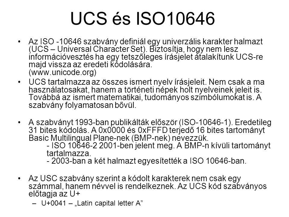 UCS és ISO10646 Az ISO -10646 szabvány definiál egy univerzális karakter halmazt (UCS – Universal Character Set).