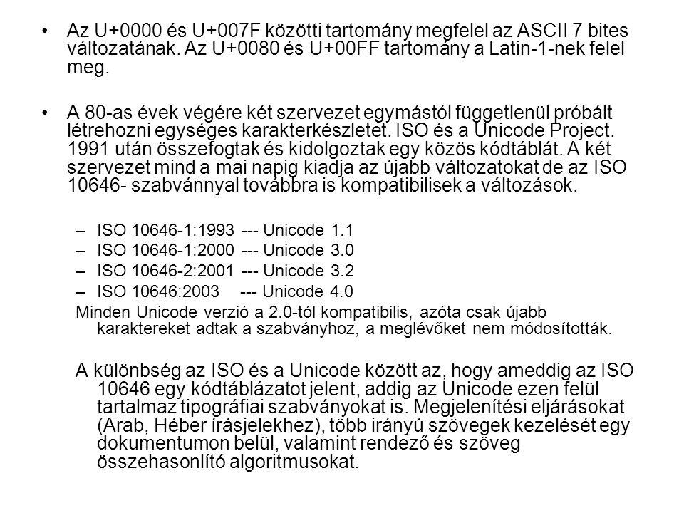 Az U+0000 és U+007F közötti tartomány megfelel az ASCII 7 bites változatának.
