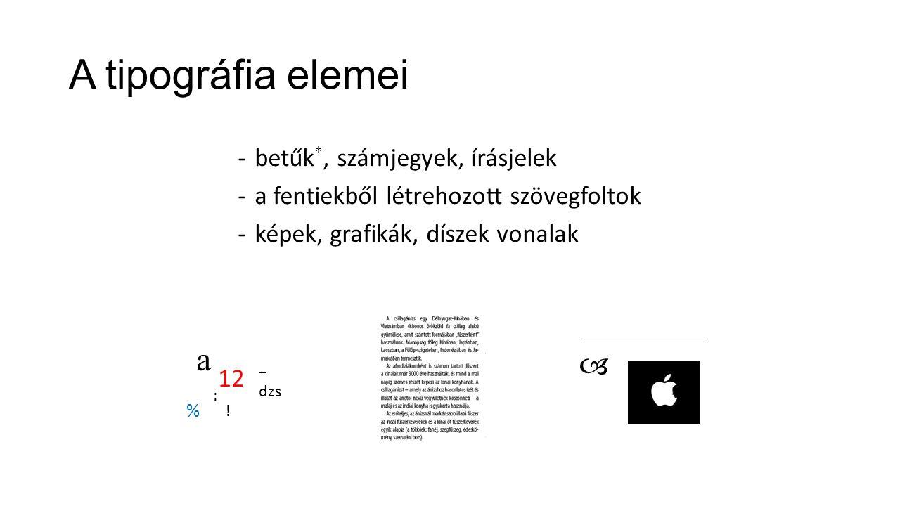 A tipográfia elemei -betűk *, számjegyek, írásjelek -a fentiekből létrehozott szövegfoltok -képek, grafikák, díszek vonalak a 12 % .