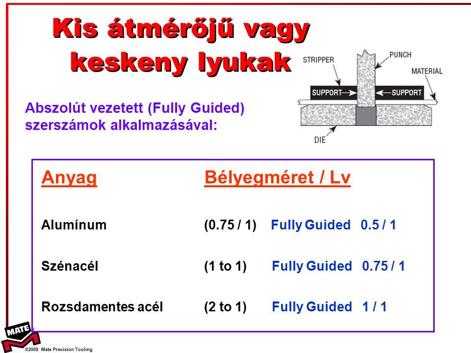 ©2008 Mate Precision Tooling Anyag Alumínum Szénacél Rozsdamentes acél Bélyegméret / Lv (0.75 / 1) Fully Guided 0.5 / 1 (1 to 1) Fully Guided 0.75 / 1 (2 to 1) Fully Guided 1 / 1 Kis átmérőjű vagy keskeny lyukak Abszolút vezetett (Fully Guided) szerszámok alkalmazásával: