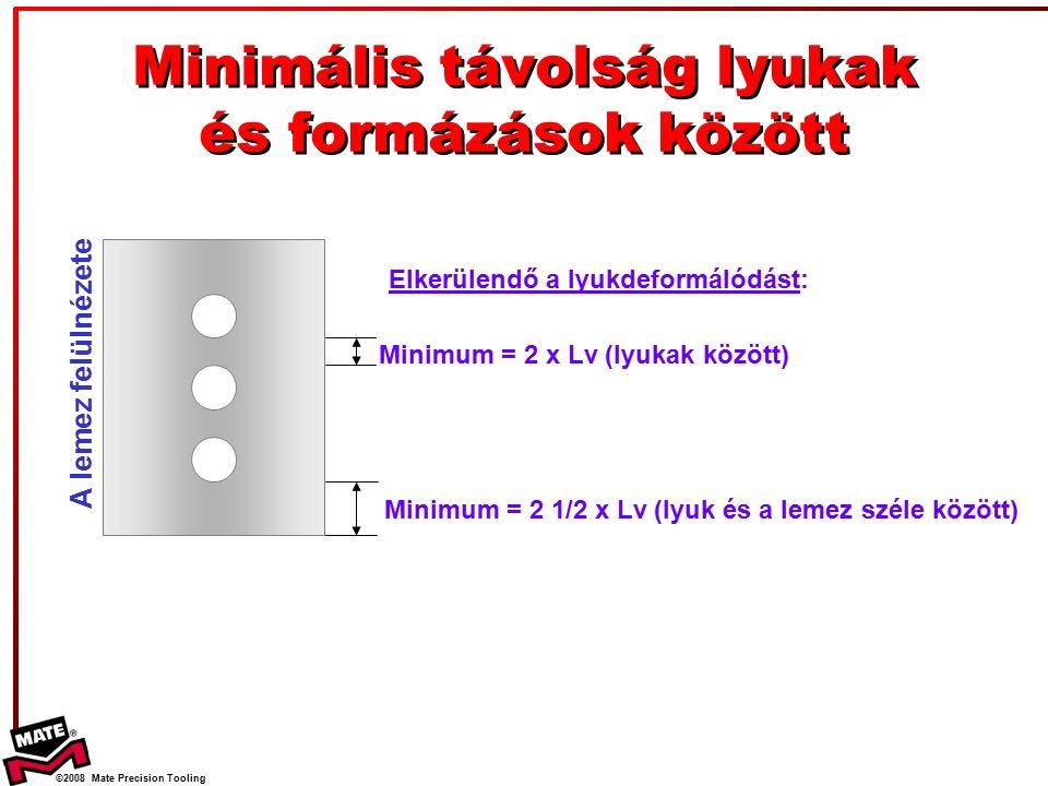 ©2008 Mate Precision Tooling Minimális távolság lyukak és formázások között Minimum = 2 x Lv (lyukak között) Minimum = 2 1/2 x Lv (lyuk és a lemez széle között) A lemez felülnézete Elkerülendő a lyukdeformálódást: