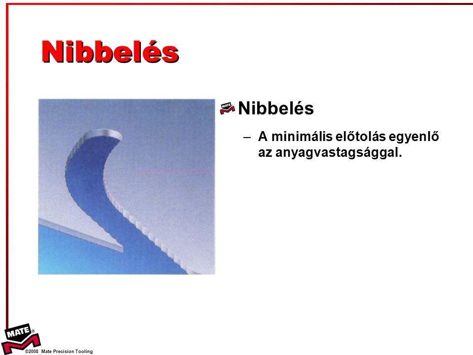 ©2008 Mate Precision Tooling Nibbelés –A minimális előtolás egyenlő az anyagvastagsággal.