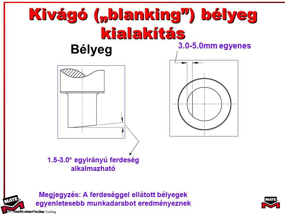 """©2008 Mate Precision Tooling Bélyeg 3.0-5.0mm egyenes 1.5-3.0° egyirányú ferdeség alkalmazható Kivágó (""""blanking ) bélyeg kialakítás ©1999 Mate Precision Tooling Megjegyzés: A ferdeséggel ellátott bélyegek egyenletesebb munkadarabot eredményeznek"""