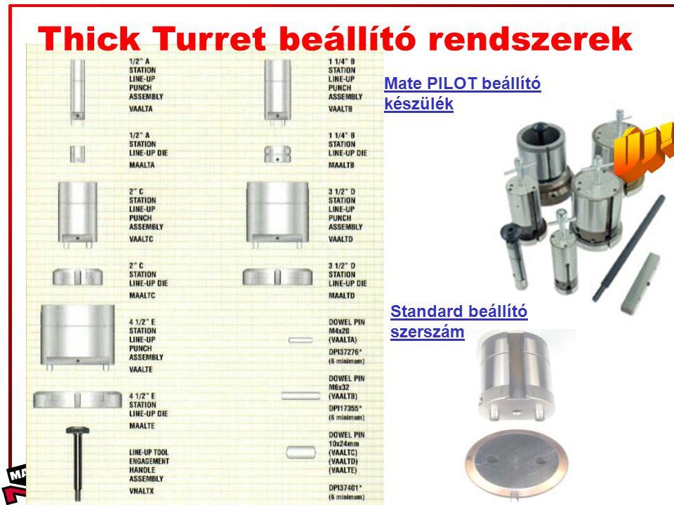©2008 Mate Precision Tooling Thick Turret beállító rendszerek Mate PILOT beállító készülék Standard beállító szerszám