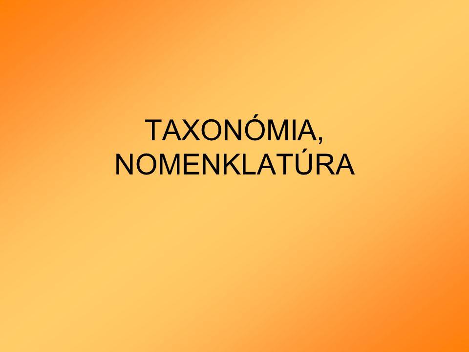 TAXONÓMIA, NOMENKLATÚRA