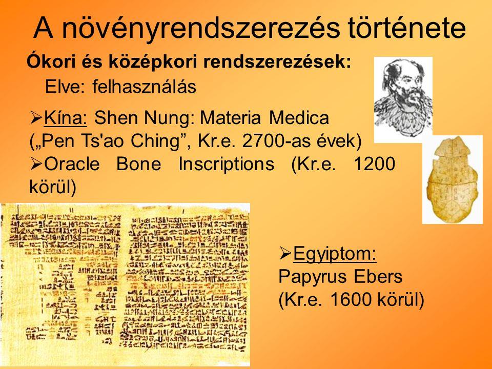 """A növényrendszerezés története Ókori és középkori rendszerezések: Elve: felhasználás  Kína: Shen Nung: Materia Medica (""""Pen Ts ao Ching , Kr.e."""