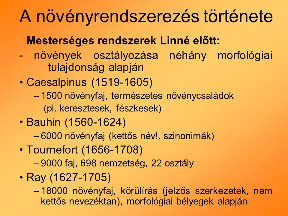 A növényrendszerezés története Mesterséges rendszerek Linné előtt: - növények osztályozása néhány morfológiai tulajdonság alapján Caesalpinus (1519-1605) –1500 növényfaj, természetes növénycsaládok (pl.