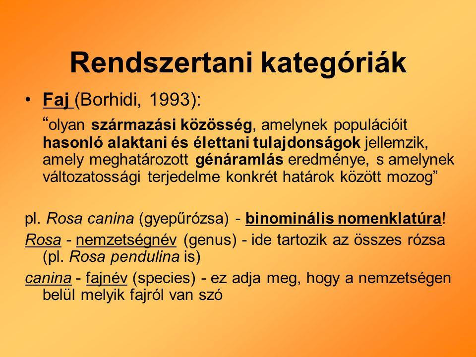 Rendszertani kategóriák Faj (Borhidi, 1993): olyan származási közösség, amelynek populációit hasonló alaktani és élettani tulajdonságok jellemzik, amely meghatározott génáramlás eredménye, s amelynek változatossági terjedelme konkrét határok között mozog pl.