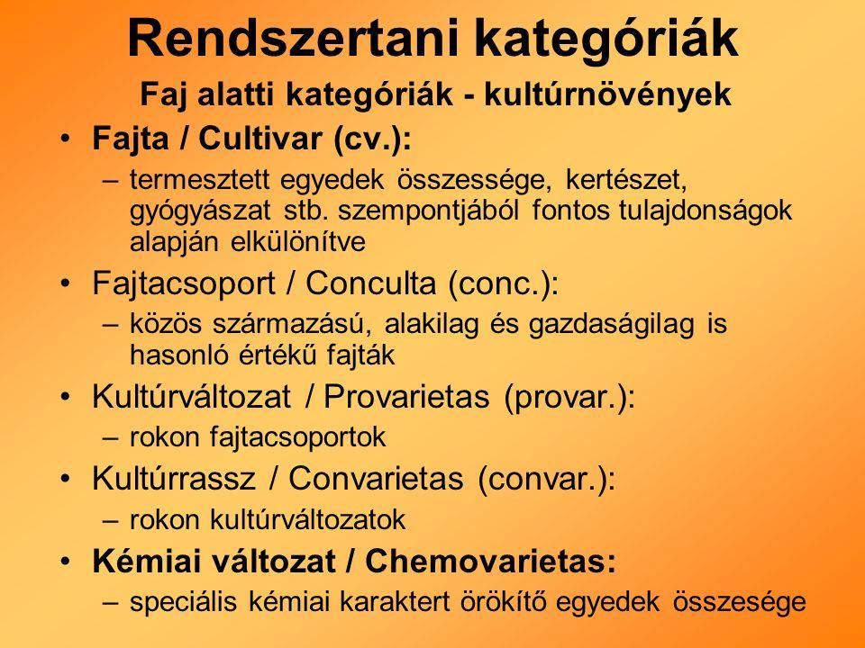 Rendszertani kategóriák Faj alatti kategóriák - kultúrnövények Fajta / Cultivar (cv.): –termesztett egyedek összessége, kertészet, gyógyászat stb.
