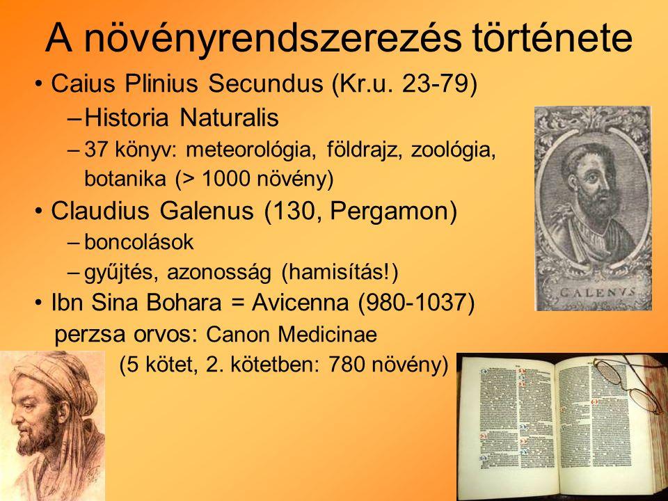 A növényrendszerezés története Természetes rendszerek: - morfológiai, anatómiai rendszerek (nem kiragadott tulajdonságok, hanem sokféle külső és belső sajátság alapján) Franciaország: Adanson: Familles des Plantes (1763): - növényi tulajdonságok széles köre Jussieu: Genera Plantarum (1789): - egy- és kétszikűek, sziklevél nélküliek - sziromtalanok, szabad- és forrtszirmúak - felső - és alsóállású magház De Candolle család: Prodromus Systematis Naturalis Regni Vegetabilis (1823-73)