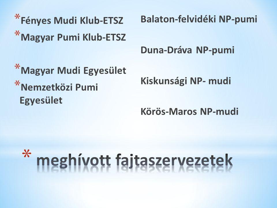 * Fényes Mudi Klub-ETSZ * Magyar Pumi Klub-ETSZ * Magyar Mudi Egyesület * Nemzetközi Pumi Egyesület Balaton-felvidéki NP-pumi Duna-Dráva NP-pumi Kiskunsági NP- mudi Körös-Maros NP-mudi