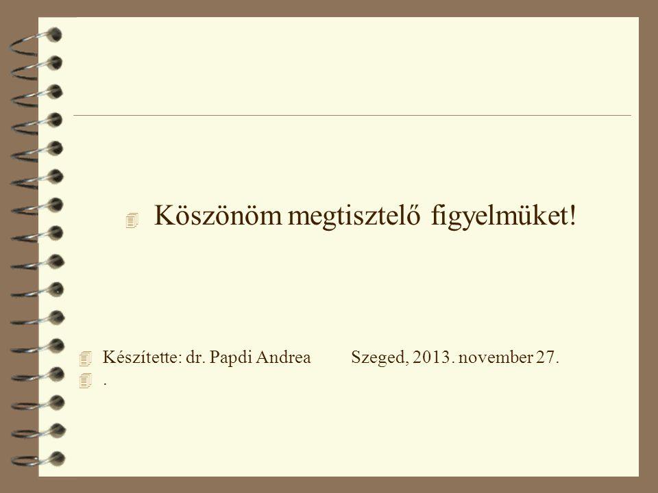 4 Köszönöm megtisztelő figyelmüket! 4 Készítette: dr. Papdi Andrea Szeged, 2013. november 27. 4.