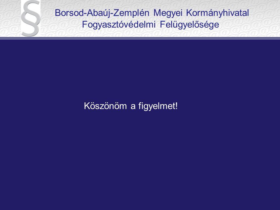 Köszönöm a figyelmet! Borsod-Abaúj-Zemplén Megyei Kormányhivatal Fogyasztóvédelmi Felügyelősége