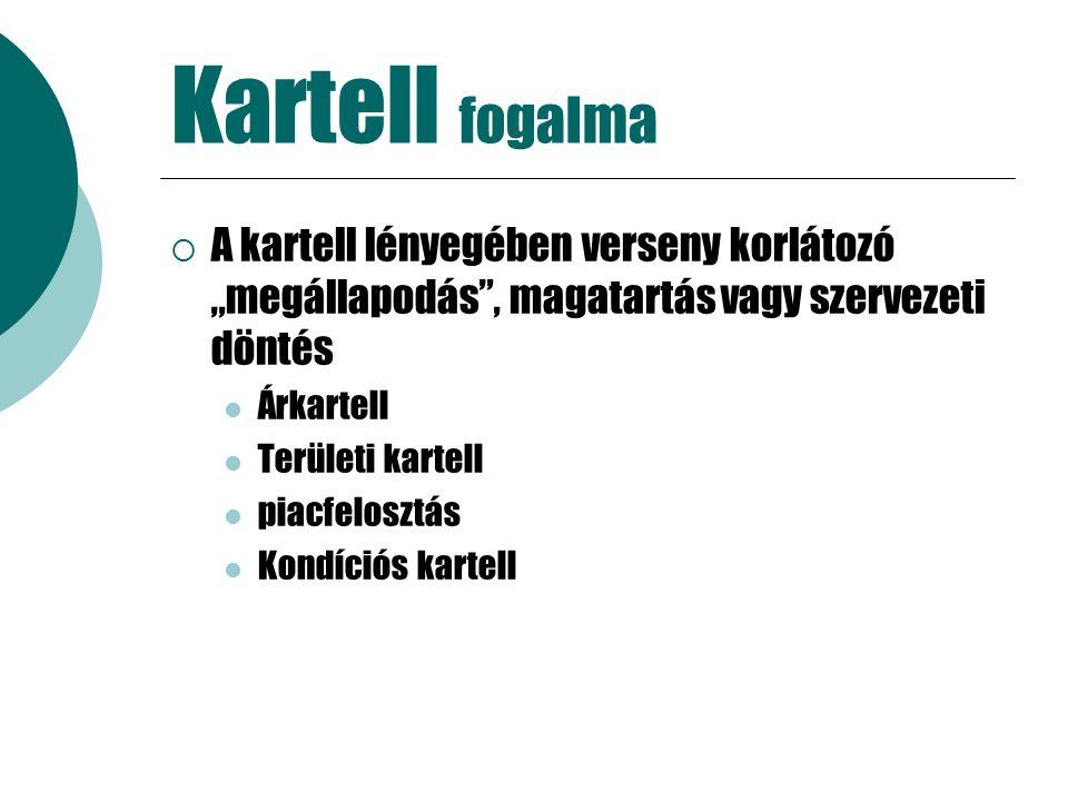 """Kartell fogalma  A kartell lényegében verseny korlátozó """"megállapodás , magatartás vagy szervezeti döntés Árkartell Területi kartell piacfelosztás Kondíciós kartell"""