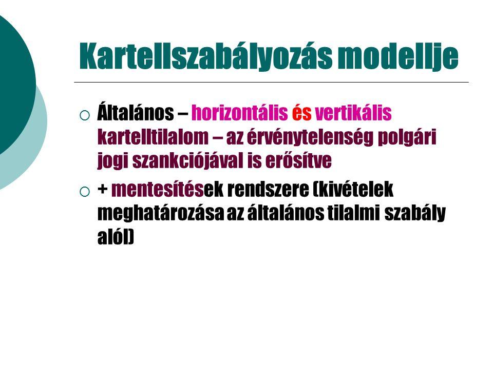 Kartellszabályozás modellje  Általános – horizontális és vertikális kartelltilalom – az érvénytelenség polgári jogi szankciójával is erősítve  + mentesítések rendszere (kivételek meghatározása az általános tilalmi szabály alól)
