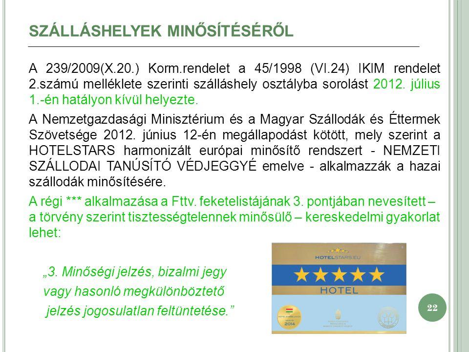 22 SZÁLLÁSHELYEK MINŐSÍTÉSÉRŐL A 239/2009(X.20.) Korm.rendelet a 45/1998 (VI.24) IKIM rendelet 2.számú melléklete szerinti szálláshely osztályba sorolást 2012.