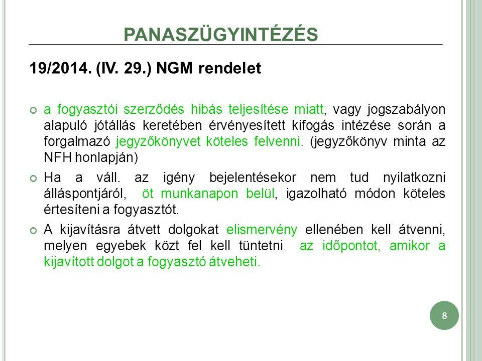 8 PANASZÜGYINTÉZÉS 19/2014. (IV.