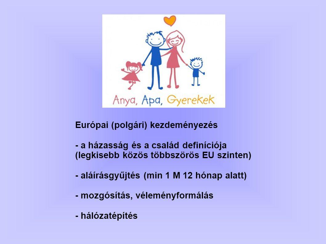 Európai (polgári) kezdeményezés - a házasság és a család definíciója (legkisebb közös többszörös EU szinten) - aláírásgyűjtés (min 1 M 12 hónap alatt)