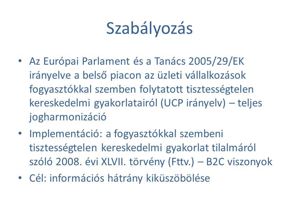 Szabályozás Az Európai Parlament és a Tanács 2005/29/EK irányelve a belső piacon az üzleti vállalkozások fogyasztókkal szemben folytatott tisztességtelen kereskedelmi gyakorlatairól (UCP irányelv) – teljes jogharmonizáció Implementáció: a fogyasztókkal szembeni tisztességtelen kereskedelmi gyakorlat tilalmáról szóló 2008.