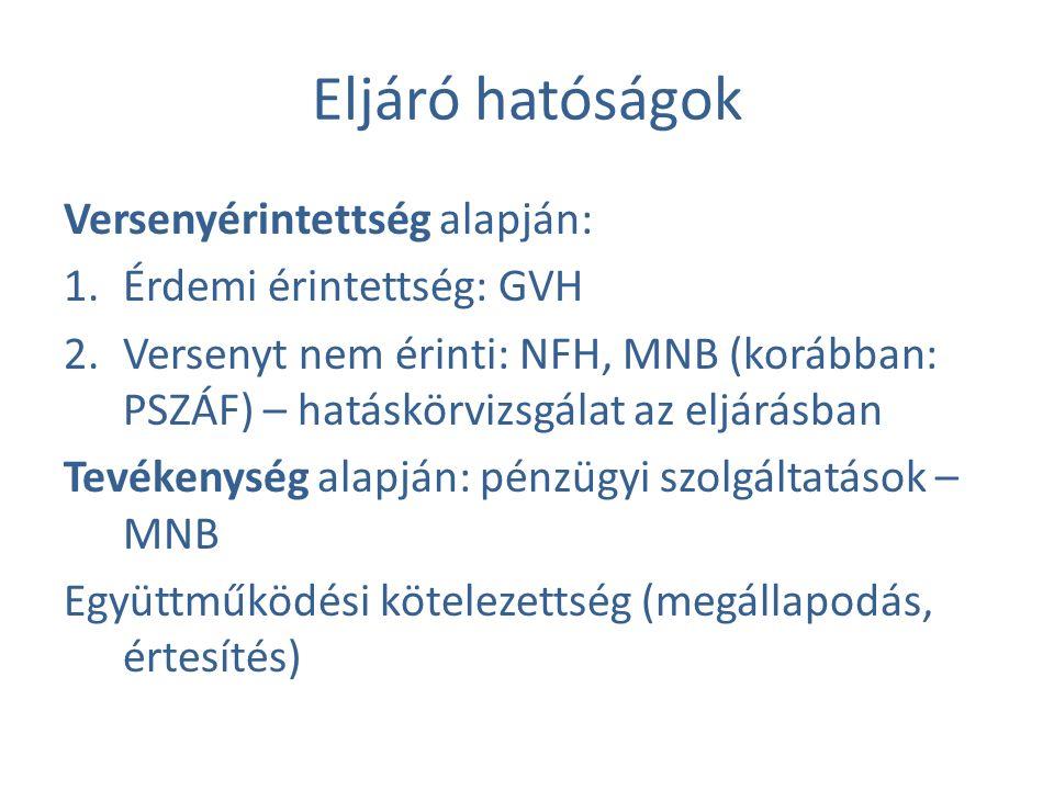 Eljáró hatóságok Versenyérintettség alapján: 1.Érdemi érintettség: GVH 2.Versenyt nem érinti: NFH, MNB (korábban: PSZÁF) – hatáskörvizsgálat az eljárásban Tevékenység alapján: pénzügyi szolgáltatások – MNB Együttműködési kötelezettség (megállapodás, értesítés)