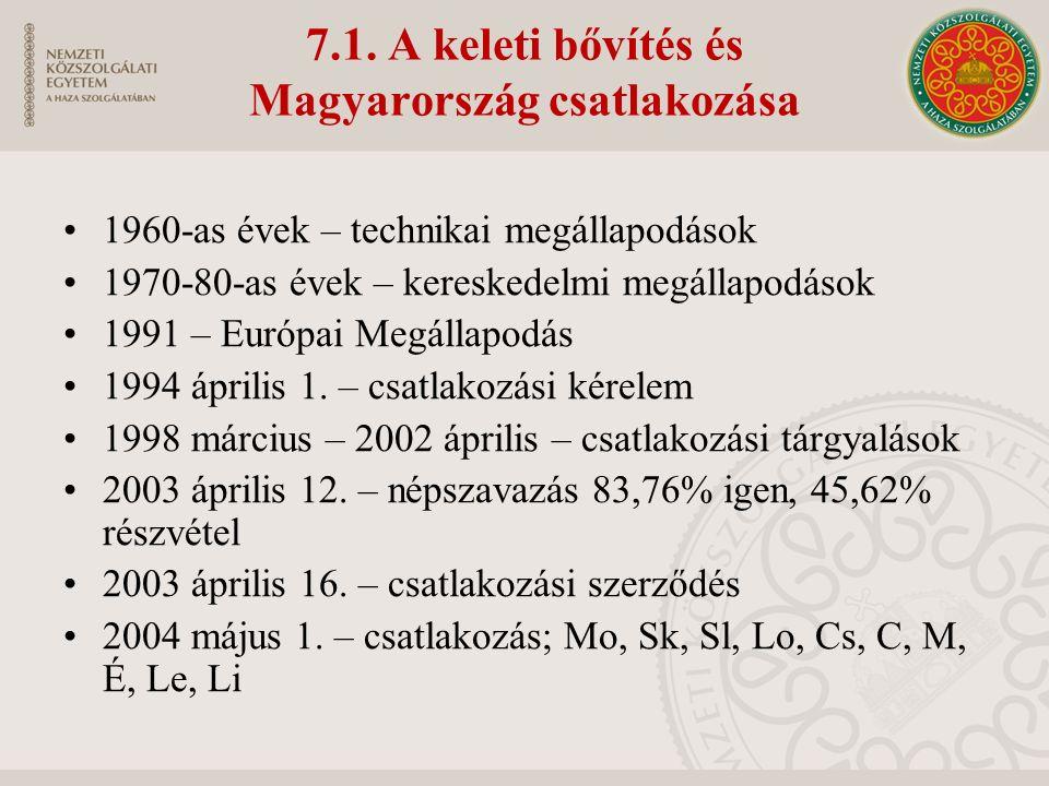 7.1. A keleti bővítés és Magyarország csatlakozása 1960-as évek – technikai megállapodások 1970-80-as évek – kereskedelmi megállapodások 1991 – Európa