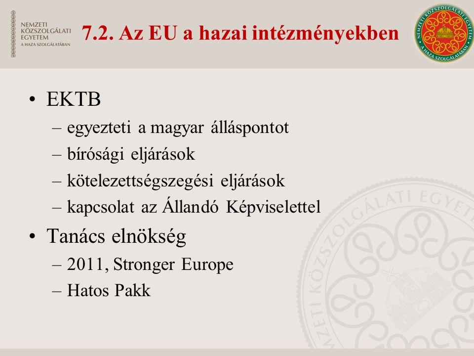 7.2. Az EU a hazai intézményekben EKTB –egyezteti a magyar álláspontot –bírósági eljárások –kötelezettségszegési eljárások –kapcsolat az Állandó Képvi