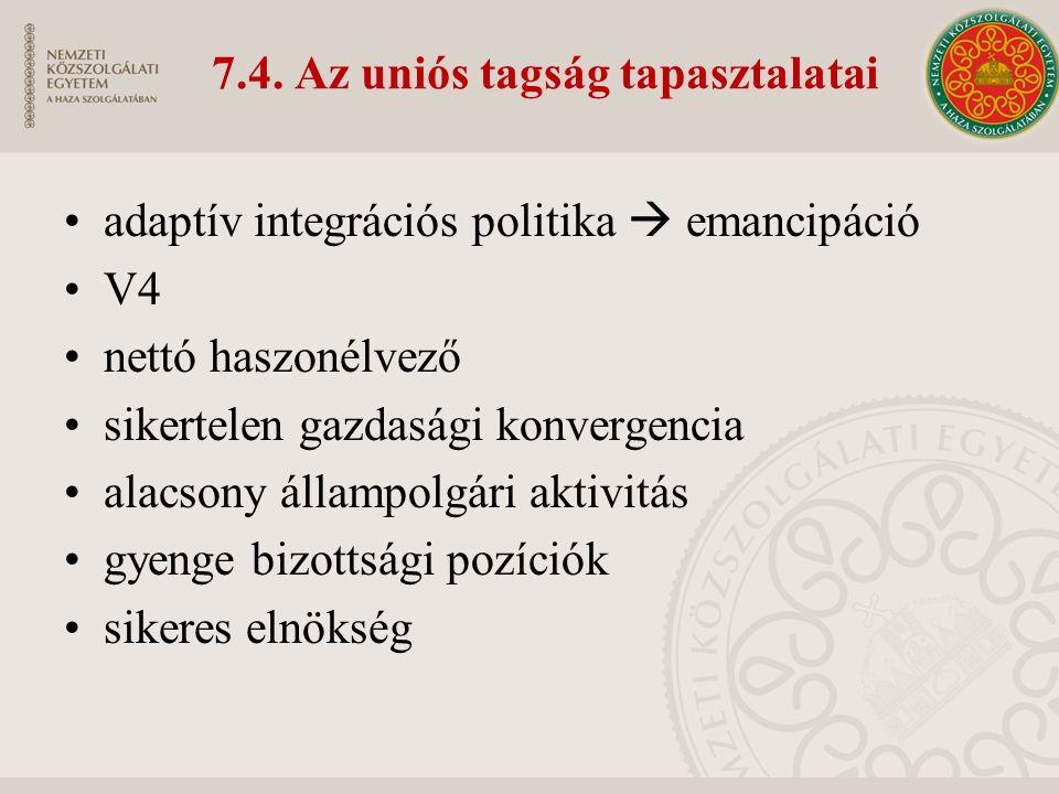 7.4. Az uniós tagság tapasztalatai adaptív integrációs politika  emancipáció V4 nettó haszonélvező sikertelen gazdasági konvergencia alacsony állampo