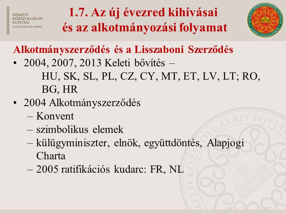 1.7. Az új évezred kihívásai és az alkotmányozási folyamat Alkotmányszerződés és a Lisszaboni Szerződés 2004, 2007, 2013 Keleti bővítés – HU, SK, SL,