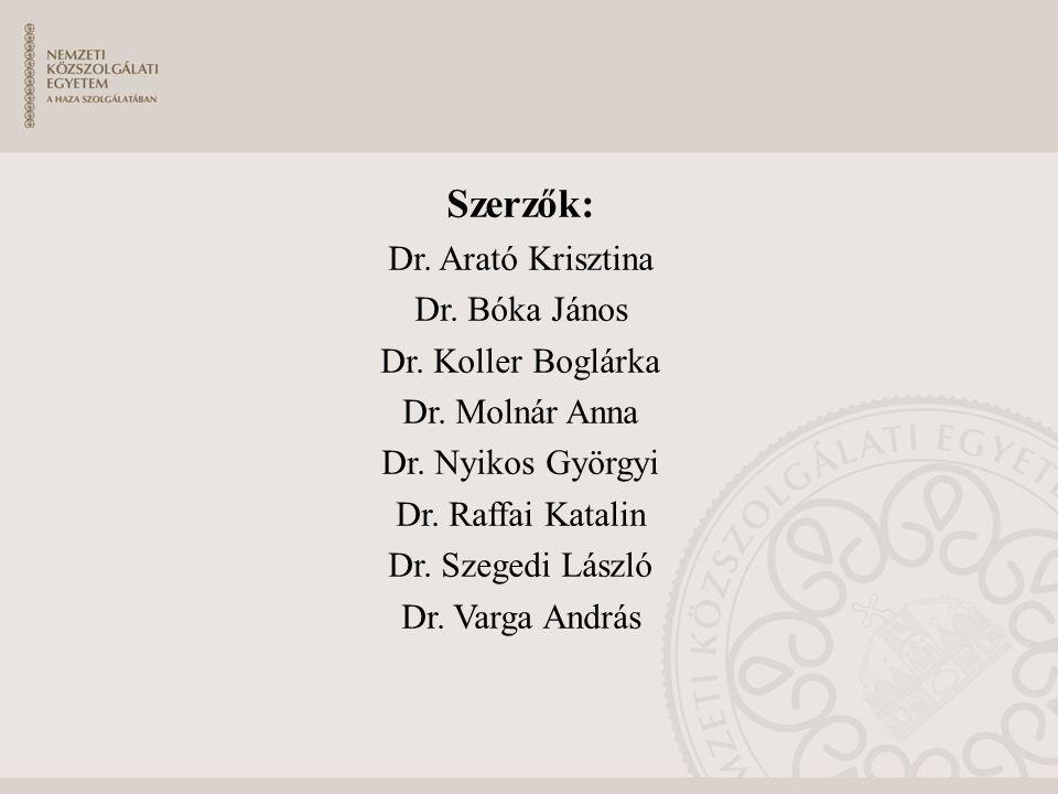 Szerzők: Dr. Arató Krisztina Dr. Bóka János Dr. Koller Boglárka Dr.