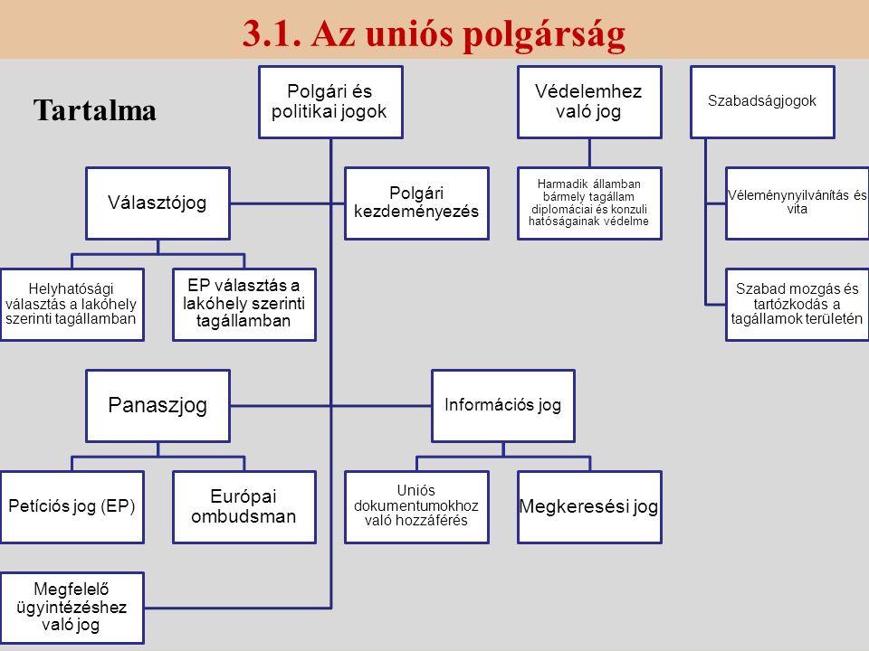 3.1. Az uniós polgárság Polgári és politikai jogok Választójog Helyhatósági választás a lakóhely szerinti tagállamban EP választás a lakóhely szerinti