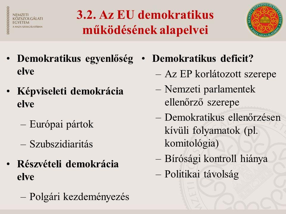 3.2. Az EU demokratikus működésének alapelvei Demokratikus egyenlőség elve Képviseleti demokrácia elve –Európai pártok –Szubszidiaritás Részvételi dem