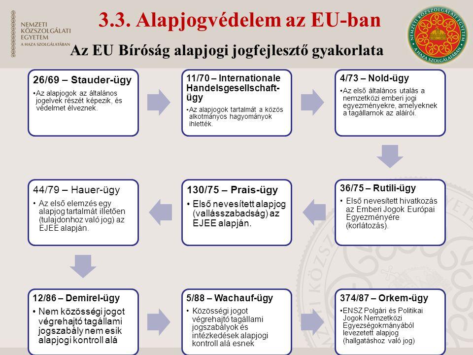 3.3. Alapjogvédelem az EU-ban 26/69 – Stauder-ügy Az alapjogok az általános jogelvek részét képezik, és védelmet élveznek. 11/70 – Internationale Hand
