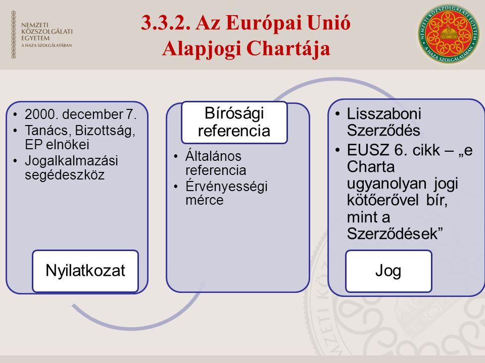 3.3.2. Az Európai Unió Alapjogi Chartája 2000. december 7.