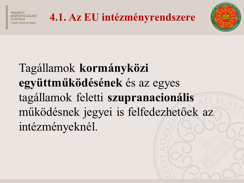 4.1. Az EU intézményrendszere Tagállamok kormányközi együttműködésének és az egyes tagállamok feletti szupranacionális működésnek jegyei is felfedezhe
