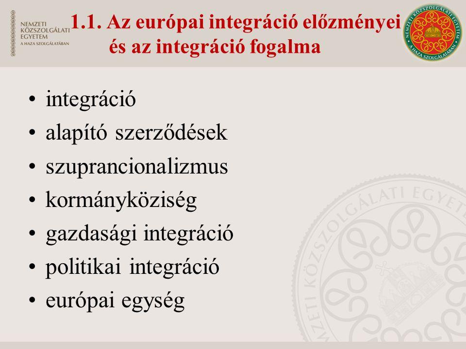 1.1. Az európai integráció előzményei és az integráció fogalma integráció alapító szerződések szuprancionalizmus kormányköziség gazdasági integráció p