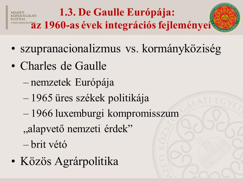 1.3. De Gaulle Európája: az 1960-as évek integrációs fejleményei szupranacionalizmus vs.