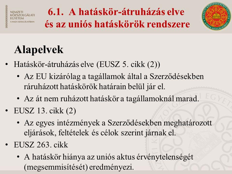6.1. A hatáskör-átruházás elve és az uniós hatáskörök rendszere Hatáskör-átruházás elve (EUSZ 5.