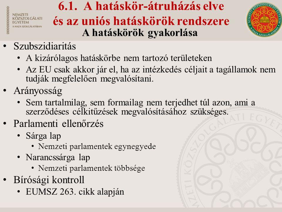 6.1. A hatáskör-átruházás elve és az uniós hatáskörök rendszere Szubszidiaritás A kizárólagos hatáskörbe nem tartozó területeken Az EU csak akkor jár