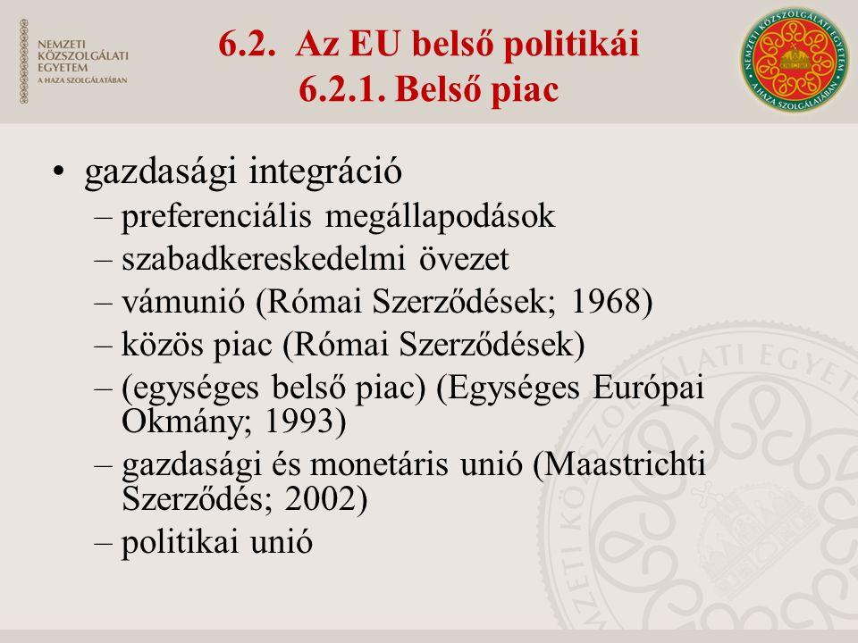 6.2. Az EU belső politikái 6.2.1.
