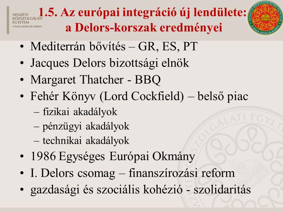 1.5. Az európai integráció új lendülete: a Delors-korszak eredményei Mediterrán bővítés – GR, ES, PT Jacques Delors bizottsági elnök Margaret Thatcher