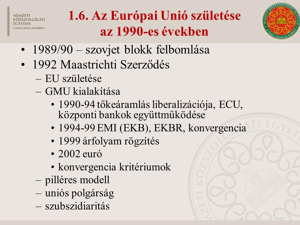 1.6. Az Európai Unió születése az 1990-es években 1989/90 – szovjet blokk felbomlása 1992 Maastrichti Szerződés –EU születése –GMU kialakítása 1990-94