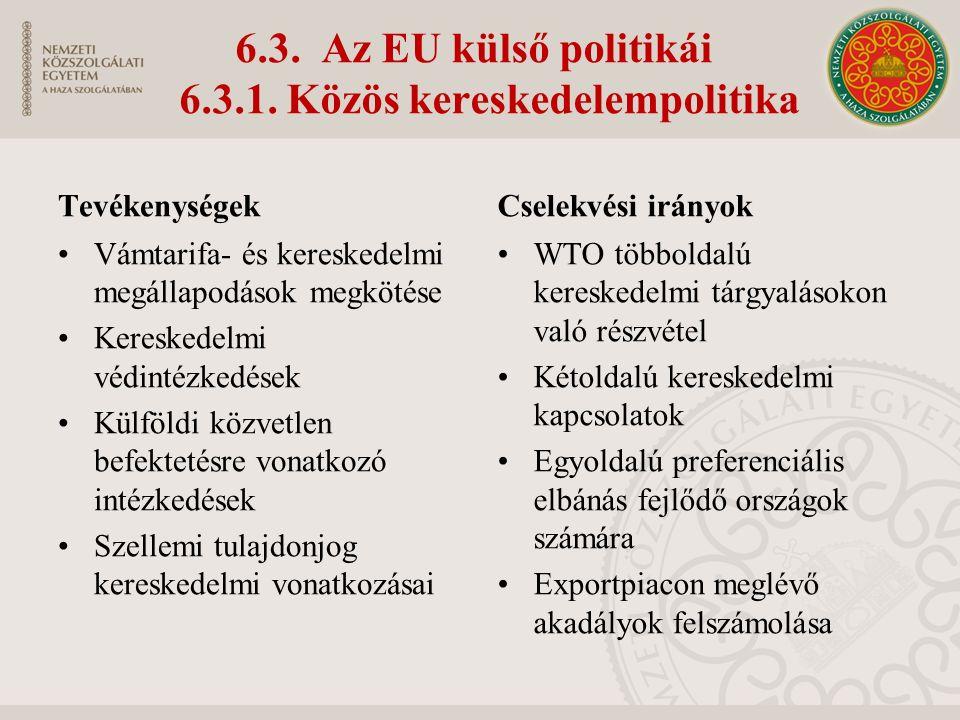 6.3. Az EU külső politikái 6.3.1.